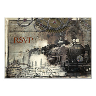 Steam Engine Steampunk RSVP Card