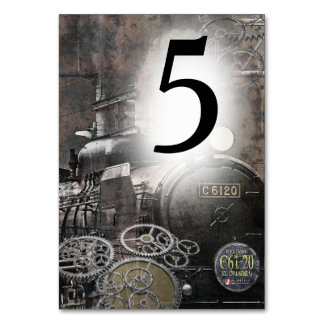Steam Engine Steampunk Table Number Card