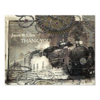 Steam Engine Steampunk Thank You 4.25x5.5 Paper Invitation Card
