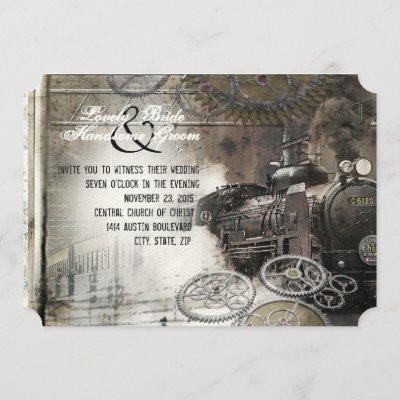 Steam Engine Steampunk Wedding Invitation