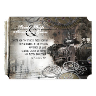 Steam Engine Steampunk Wedding Invitation