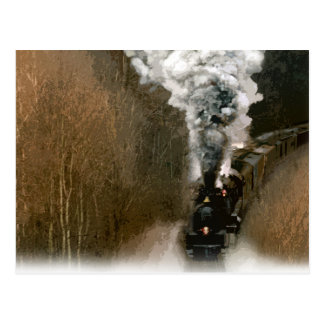 Steam Engine Train Barreling down the Tracks Postcard