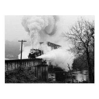 Steam Enging Crossing A Bridge Postcard