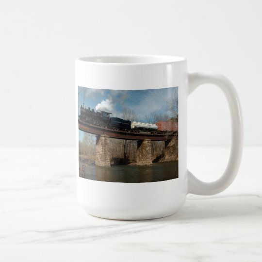 Steam Freight Train on Trestle Mug