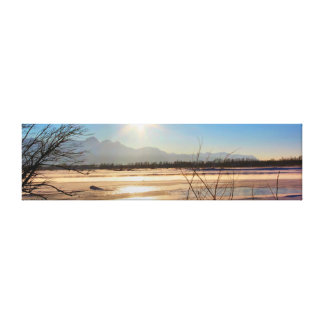 Steam From the Frozen River Panorama Canvas Print