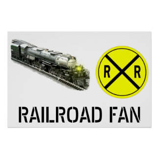 Steam Locomotive And Railroad Crossing Sign
