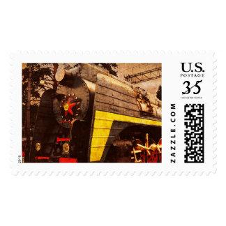 Steam Locomotive at the Kiev Railway Station Stamp