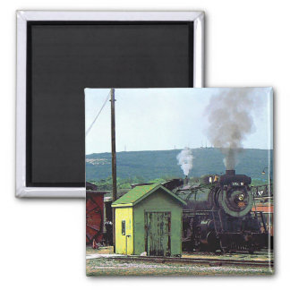Steam Locomotive Coming into Train Yard 2 Inch Square Magnet