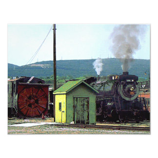 Steam Locomotive Coming into Train Yard Card