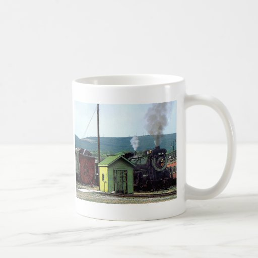Steam Locomotive Coming into Train Yard Coffee Mug