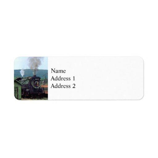 Steam Locomotive Coming into Train Yard Label