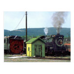 Steam Locomotive Coming into Train Yard Post Card