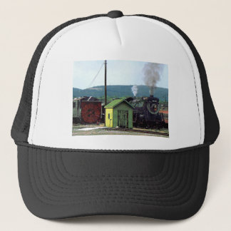 Steam Locomotive Coming into Train Yard Trucker Hat