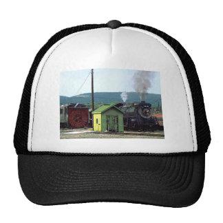 Steam Locomotive Coming into Train Yard Trucker Hat