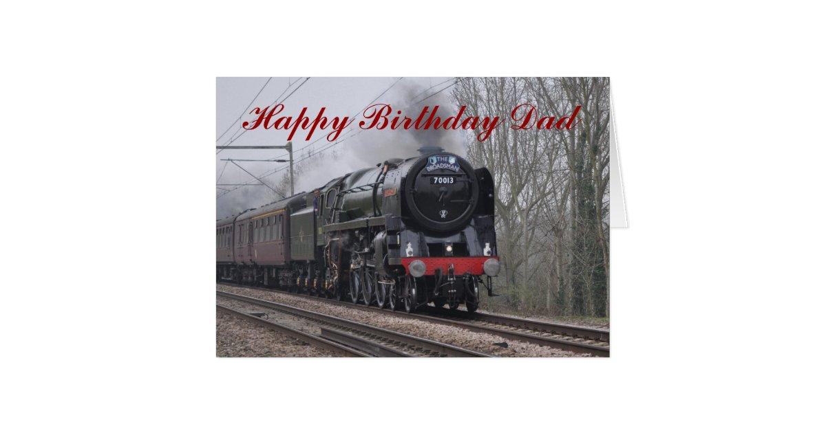 Steam locomotive happy birthday card for dad zazzle bookmarktalkfo Image collections