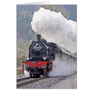 Steam Locomotive Train Chugging Birthday Card
