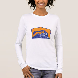 Steam Locomotive Train Coming Crest Retro Long Sleeve T-Shirt