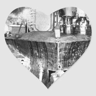 Steam locomotive train railroad heart sticker