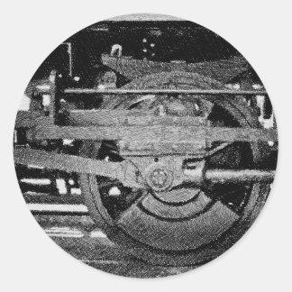 Steam Locomotive Wheel Classic Round Sticker