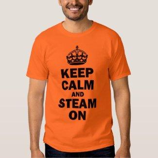 STEAM ON Man's T-shirt, black on orange Shirt