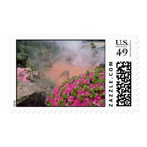Steam pool in Bephu, Japan  flowers Postage