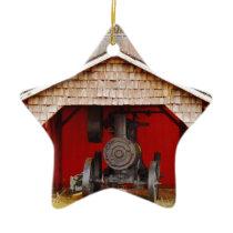 Steam powered Antique Tracter Ceramic Ornament