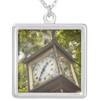 Steam powered clock in the Gastown neighborhood Silver Plated Necklace