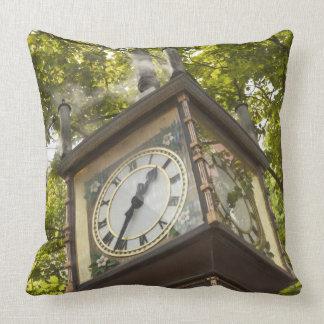 Steam powered clock in the Gastown neighborhood Throw Pillow