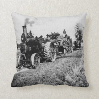 Steam Powered Tractor Vintage Logging Train Throw Pillow