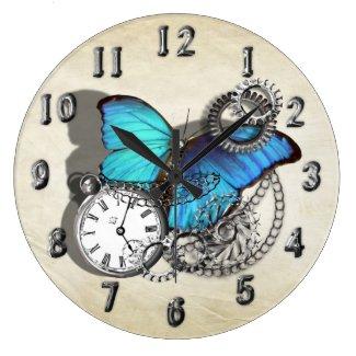 Steam Punk Blue Butterfly Pocket Watch Design Round Wallclocks