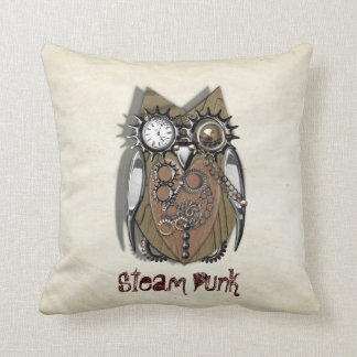Steam Punk Cute Mechanical Owl Throw Pillow
