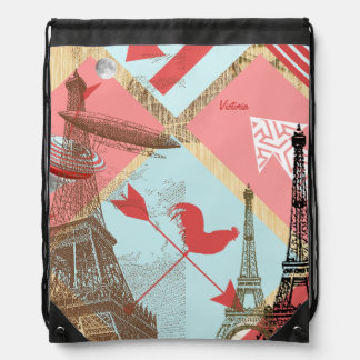 Steam Punk Eiffel Tower Urban Rooster Drawstring Backpack