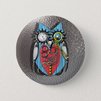 Steam Punk Funny Mechanical Owl  Red Blue Pinback Button