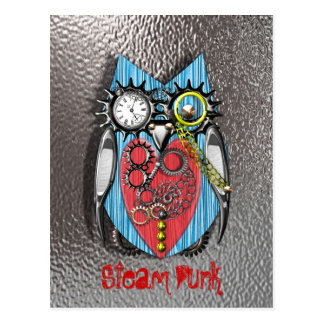 Steam Punk Funny Mechanical Owl  Red Blue Postcard