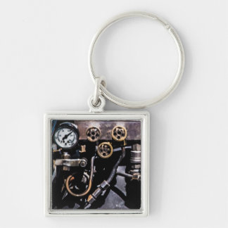 Steam Punk Gears and Gauges Silver-Colored Square Keychain