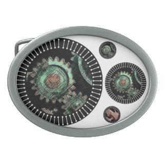 Steam punk gears belt oval belt buckle