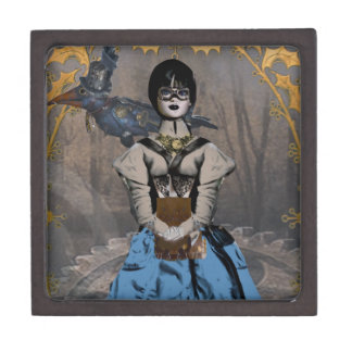 Steam Punk Girl with Mechanical Raven Jewelry Box