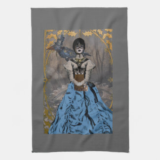 Steam Punk Girl with Mechanical Raven Towels