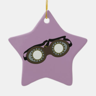 Steam Punk Goggles Double-Sided Star Ceramic Christmas Ornament
