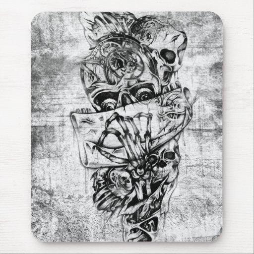 Steam Punk hand illustrated skulls on grunge base Mouse Pad