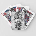 Steam Punk hand illustrated skulls on grunge base Bicycle Poker Cards
