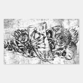 Steam Punk hand illustrated skulls on grunge base Rectangular Sticker