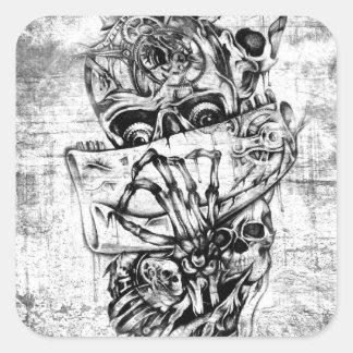 Steam Punk hand illustrated skulls on grunge base Square Sticker