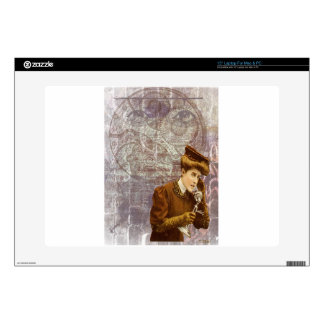 Steam Punk Lady Telephone Gears Victorian Laptop Decal