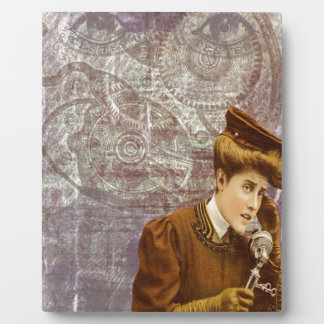 Steam Punk Lady Telephone Gears Victorian Plaque