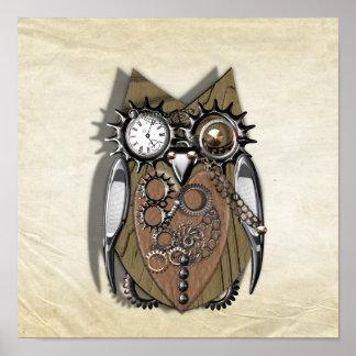Steam Punk Mechanical Cute Owl Poster