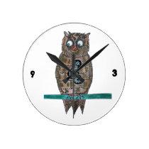 Steam Punk Owl Round Clock