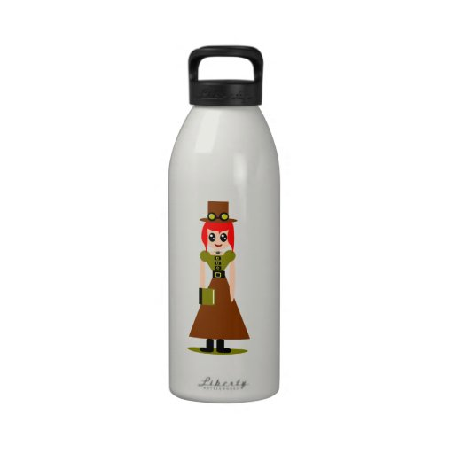 Steam Punk Red Head Reusable Water Bottles