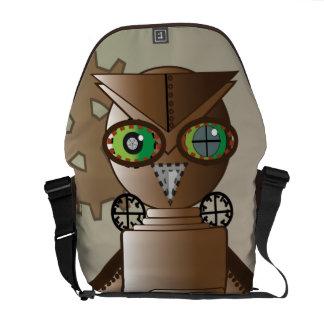Steam Punk Robot Owl Rickshaw Messenger Bag
