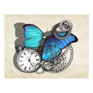 Steam Punk Teal Blue Butterfly Pocket Watch Chains Postcard